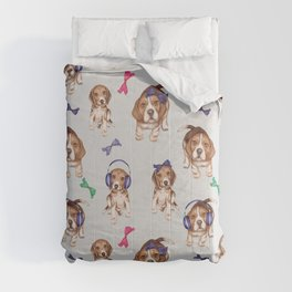 Beagle,puppies, cute dogs pattern  Comforters