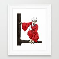 inuyasha Framed Art Prints featuring Inuyasha  by mothroot