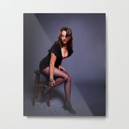 """""""Girl's Got Gams"""" - The Playful Pinup - Coy Pin-up Girl by Maxwell H. Johnson Metal Print"""