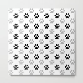 Black and grey paw prints Metal Print