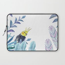 Cockatiel with tropical foliage Laptop Sleeve