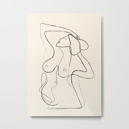Abstract Minimalist Nude Woman I Metal Print