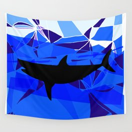 Shark art Geometric art Blue sea ocean art Triangles art Wall Tapestry