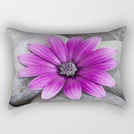 Zen Pink Daisy Pebble Still Life Rectangular Pillow