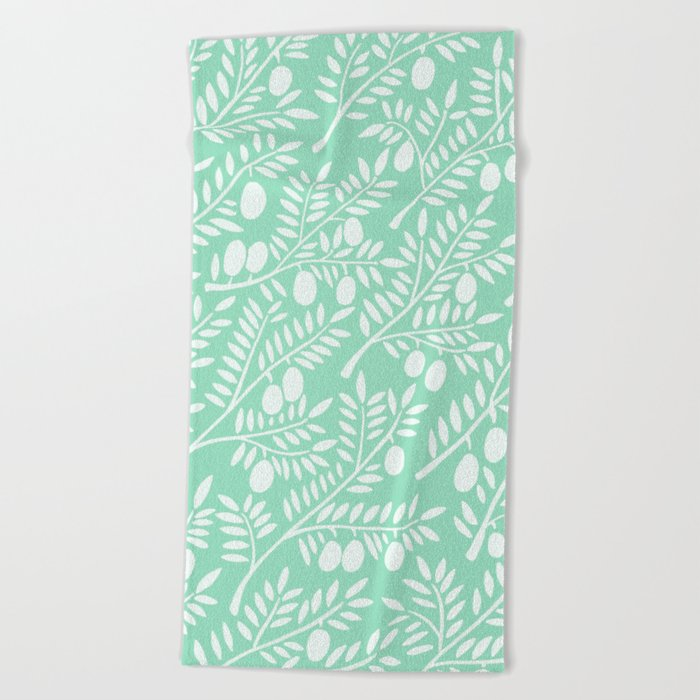 Mint Olive Branches Beach Towel
