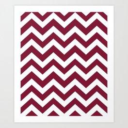 Claret - purple color - Zigzag Chevron Pattern Art Print