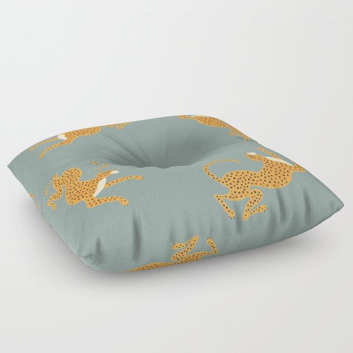 Leopard Race - blue Floor Pillow