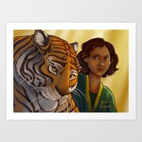 Tiger and Girl Art Print