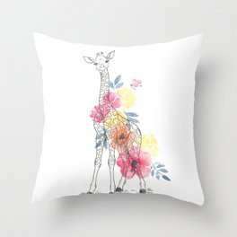 ink giraffe with floral watercolors Throw Pillow