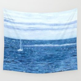 Summer flowers, seagull and sailboat Wall Tapestry