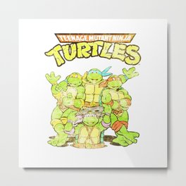 Retro Ninja Turtles Metal Print