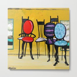 Cafe Chairs Metal Print