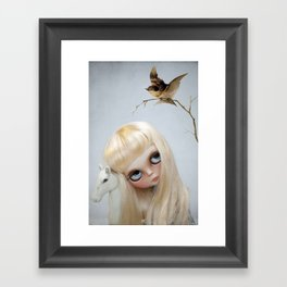Erregiro Blythe Custom Doll, The White Horse Framed Art Print