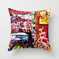 grafitti Throw Pillows featuring Grafitti by Emily Dolenz Photography