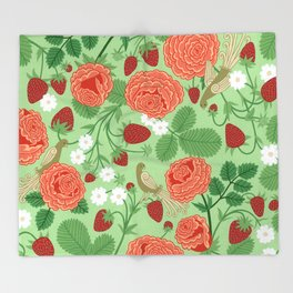 Roses and strawberries on green Throw Blanket