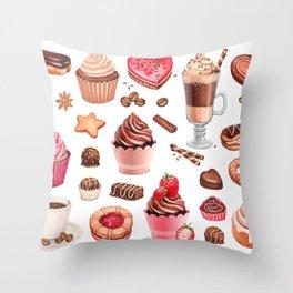 Coffee, chocolate eclair, cinnamon bun and cupcakes illustrations Throw Pillow