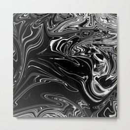 Black Marble Silk Metal Print