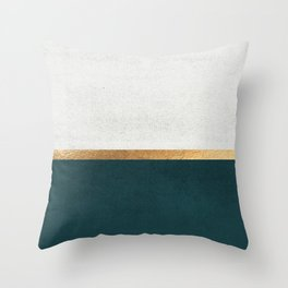 Deep Green, Gold and White Color Block Deko-Kissen