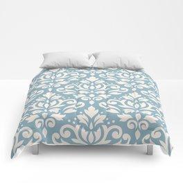 Scroll Damask Big Pattern Cream on Blue Comforters