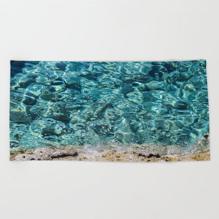 Crystal Blue Ripple Beach Towel