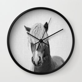 Horse - Black & White Wall Clock