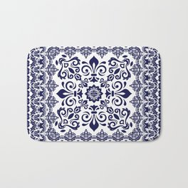 Oriental Damask blue on white Bath Mat