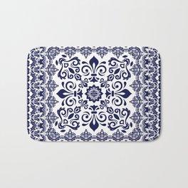 Oriental Damask blue on white Bath Mat
