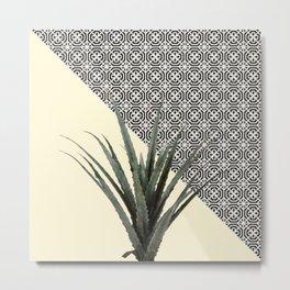Dracaena Plant on Lemon and Lattice Pattern Wall Metal Print