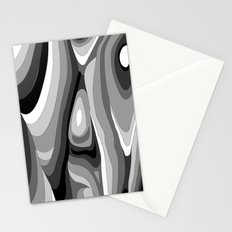 Monochromatic Psychedelic Gray Swirls Pattern Stationery Cards
