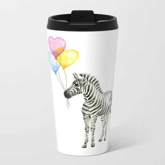 Zebra Watercolor With Heart Shaped Balloons Whimsical Baby Animals Metal Travel Mug