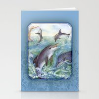 dolphins Stationery Cards featuring Dolphins by Natalie Berman