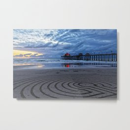 Huntington Beach Sand Circles ~  2/2/14 Metal Print