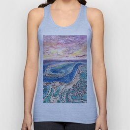 Great Barrier Reef at sunset - aerial view - coral reef - wall art Unisex Tank Top