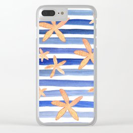 Starfish on blue stripes watercolor design Clear iPhone Case