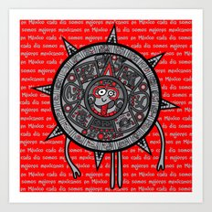 Mexicanitos al grito - Calendarito Azteca Art Print