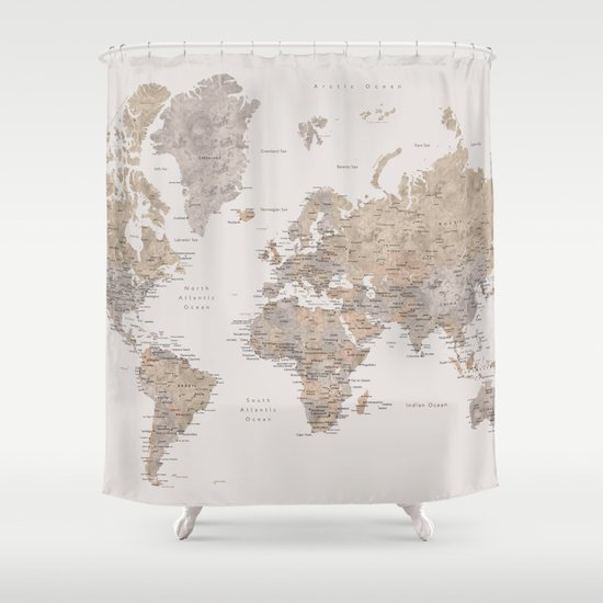 World Map With Cities In Brown And Light Gray Shower
