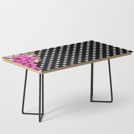 Black and White Polka Dots and Pink Flowers Coffee Table