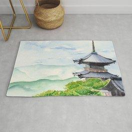 Japanese Temple, Kyoto , Kiyomizudera ,  Art Watercolor Painting print by Suisai Genki  Rug