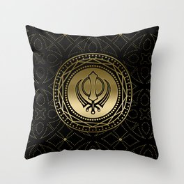 Decorative Khanda symbol gold on black Throw Pillow