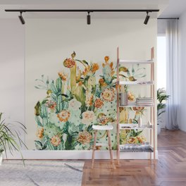 Succulent flowered cactus Wall Mural