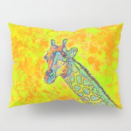 colorful wild African giraffe against bright lime green grunge background Pillow Sham