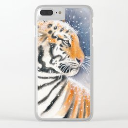 Tiger In The Snow Clear iPhone Case