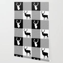 Buffalo Plaid Stag Party Wallpaper