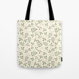 Green on Cream Assorted Leaf Silhouette Pattern Tote Bag