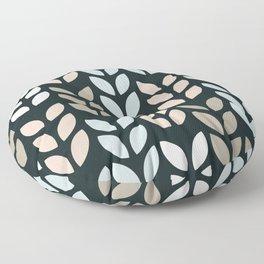 Scandinavian leaves on a black background design for home ornament. Floor Pillow
