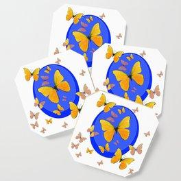YELLOW BUTTERFLIES SWARM & BLUE RING MODERN ART Coaster