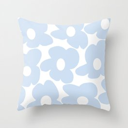 Large Baby Blue Retro Flowers White Background #decor #society6 #buyart Throw Pillow