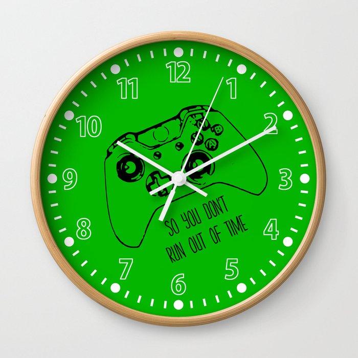 Video Game Green Wall Clock