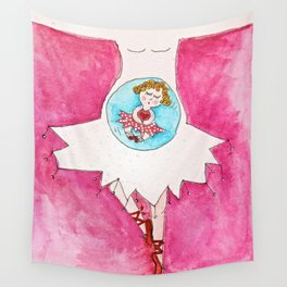 Pregnant Tutu Ballerina in Pink Wall Tapestry