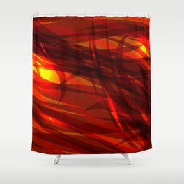 Glowing cosmic orange background made of black red metallic lines. Shower Curtain